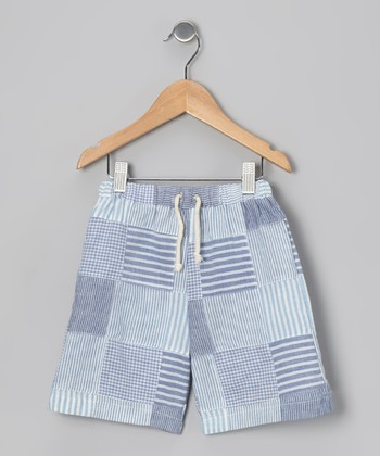 Light Blue Chambray Patchwork Shorts - Infant, Toddler & Boys