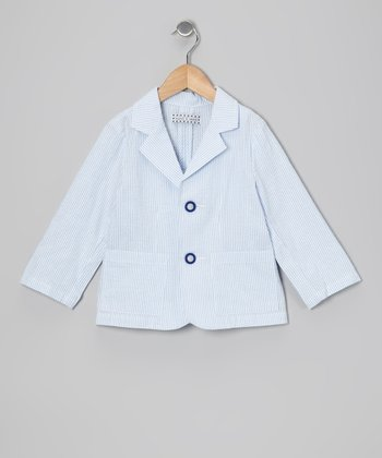 Light Blue Seersucker Blazer - Boys
