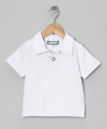White Contrast Placket Polo - Infant, Toddler & Boys