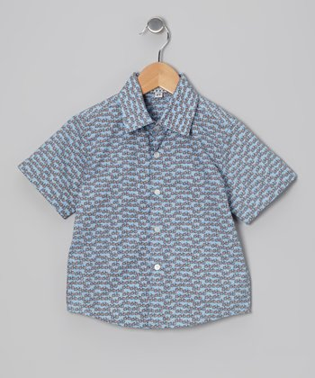 Blue Bicycle Button-Up - Infant & Boys