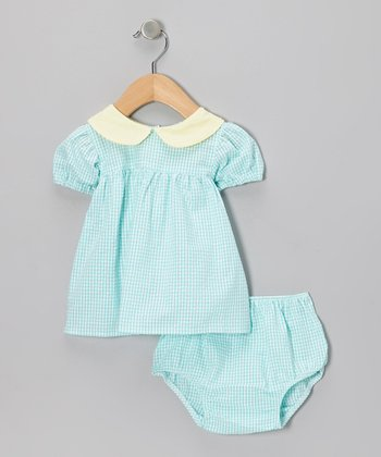 Aqua Gingham Babydoll Dress & Diaper Cover - Infant