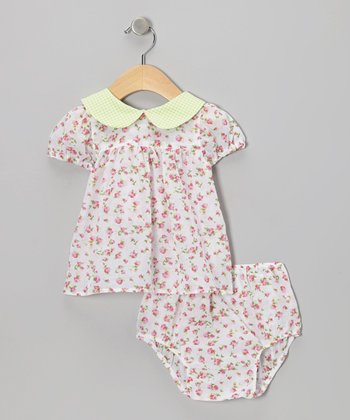 Pink Spring Rose Babydoll Dress & Diaper Cover - Infant