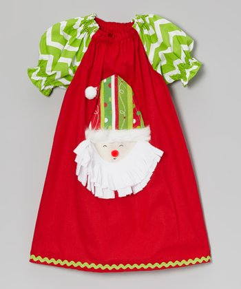 Red Santa Appliqué Puff-Sleeve Dress - Infant, Toddler & Girls