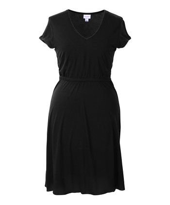 Black Maternity & Nursing Layered Nightgown