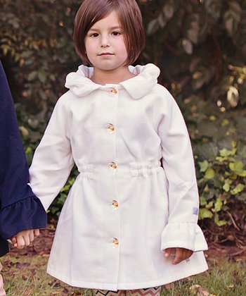Winter White Sunday Rose Coat - Toddler