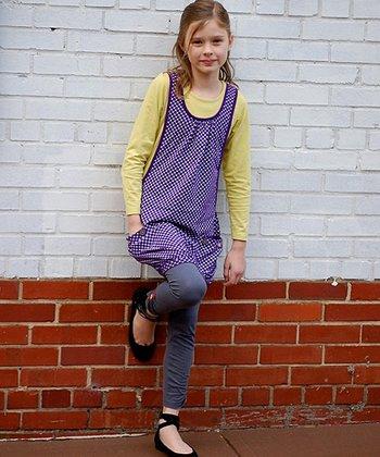 Purple & Yellow Layered Bubble Tunic - Toddler & Girls