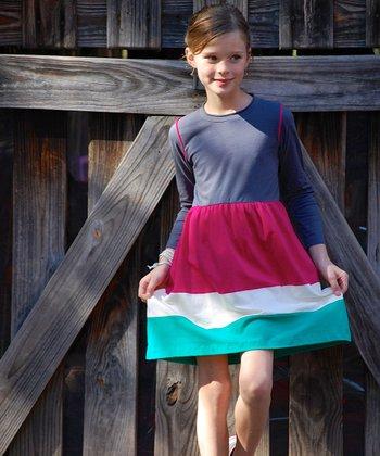 Gray & Pink Color Block Swing Dress - Toddler & Girls
