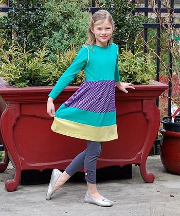 Green & Purple Color Block Swing Dress - Toddler & Girls