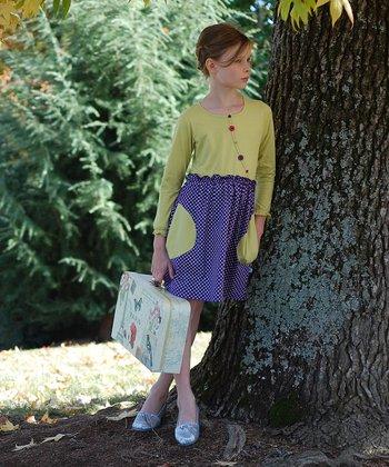 Linden & Purple Button Dress - Toddler & Girls