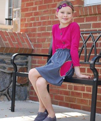 Pink & Gray Button Dress - Toddler & Girls