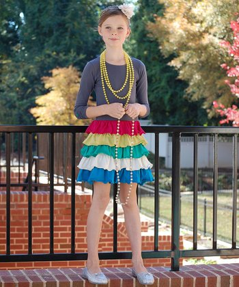 Gray & Red Ruffle Tiered Dress - Toddler & Girls