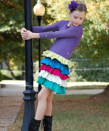 Purple & Yellow Ruffle Tiered Dress - Toddler & Girls