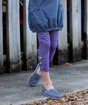 Purple & White Ruched Ankle Button Leggings - Toddler & Girls