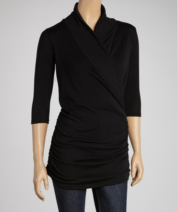 Black Gathered Surplice Top