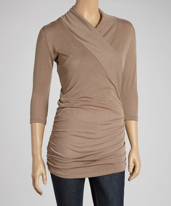 Khaki Gathered Surplice Top