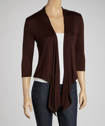Dark Brown Open Cardigan