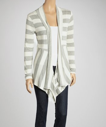Gray Stripe Gathered Open Cardigan
