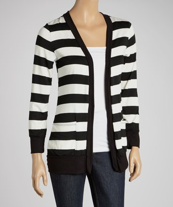 Black Stripe Open Cardigan