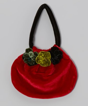Red Flower Velour Handbag