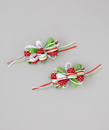 Red & Green Polka Dot Bow Clip Set