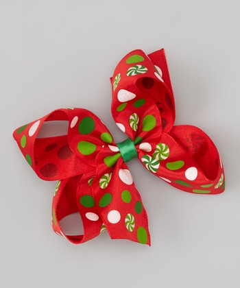 Red & Green Lollipop Bow Clip