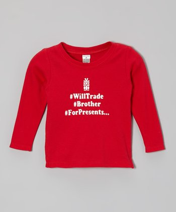 Red Hashtag 'Brother For Presents' Tee - Infant, Toddler & Girls