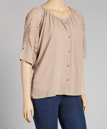Mocha Eyelet Cape-Sleeve Button-Up - Plus