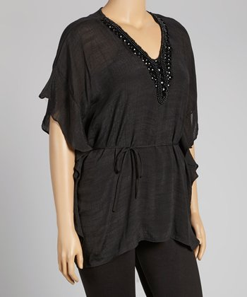 Black Embellished Cape-Sleeve Tunic - Plus