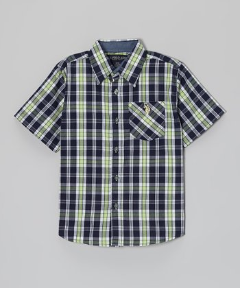 Navy & Pale Green Plaid Short-Sleeve Button-Up - Toddler & Boys