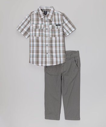 Gray Plaid Button-Up & Pants - Toddler & Boys