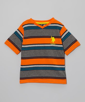 Orange & Gray Stripe Tee - Toddler & Boys