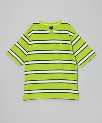 Green & White Stripe Tee - Boys