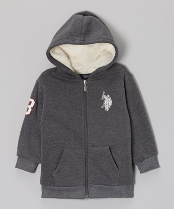 Dark Heather Gray Zip-Up Hoodie - Toddler