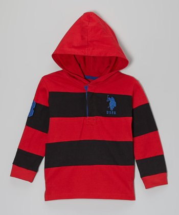 Red & Black Color Block Pullover Hoodie - Toddler