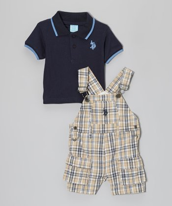Navy Plaid Overalls & Blue Polo - Infant