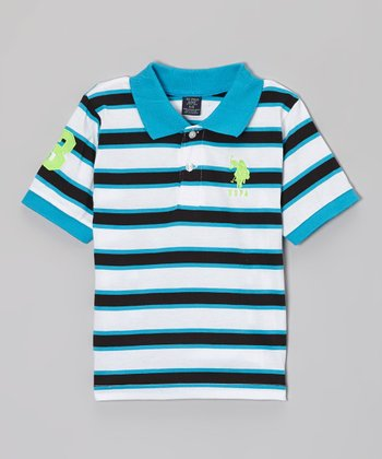 Black & Teal Stripe Polo - Toddler & Boys