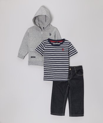 Light Heather Zip-Up Jacket Set - Infant