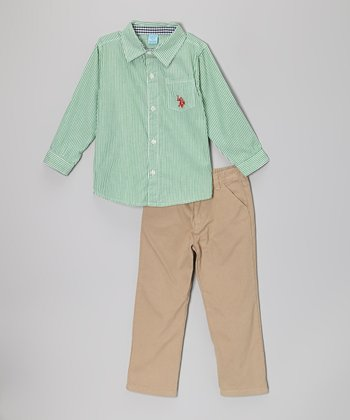 Green Stripe Button-Up & Khaki Pants - Infant & Toddler