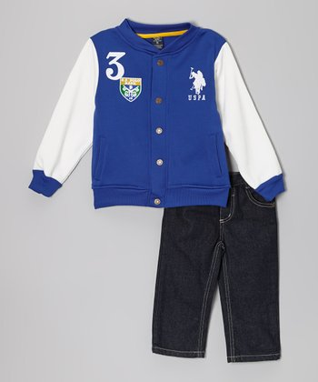 Cobalt Letterman Jacket & Jeans - Toddler & Boys