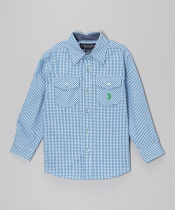 Periwinkle Gingham Button-Up - Toddler & Boys