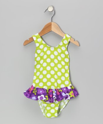 Kiwi Punch Polka Dot Skirted Sunsuit - Infant, Toddler & Girls