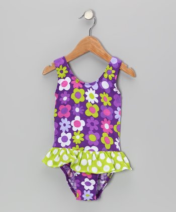 Purple Fab Floral Skirted Sunsuit - Infant, Toddler & Girls