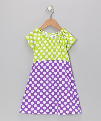 Grape Punch Dot Angel-Sleeve Dress - Infant, Toddler & Girls