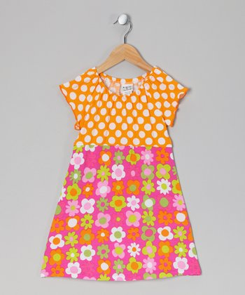 Mango Punch Polka Dot Peasant Dress - Infant, Toddler & Girls