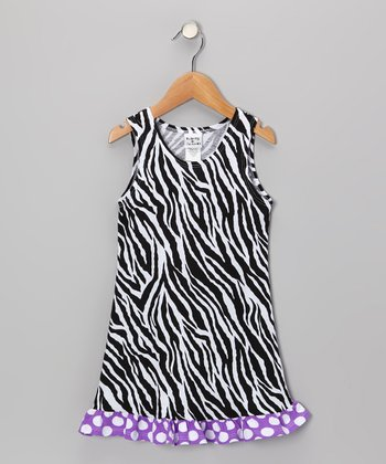 Black & White Zebra Fit & Flare Dress - Infant, Toddler & Girls