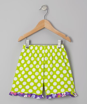 Kiwi Punch Polka Dot Ruffle Shorts - Infant, Toddler & Girls