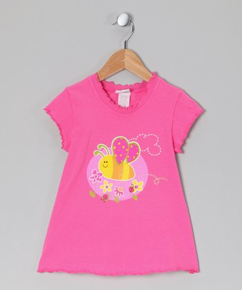 Pink Bees 'n' Bugs Lettuce-Edge Tee - Infant, Toddler & Girls