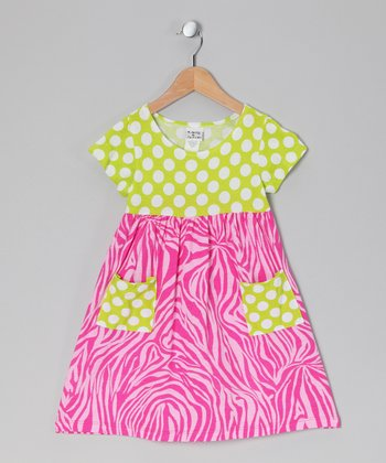 Pink Zebra Polka Dot Pocket Dress - Infant, Toddler & Girls