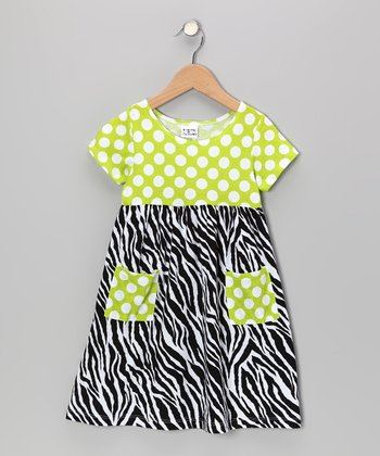 Black & White Zebra Pocket Dress - Infant, Toddler & Girls