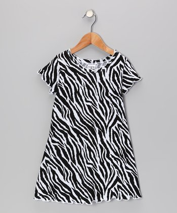 Black & White Zebra Swing Dress - Infant, Toddler & Girls